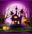 scary church background with scarecrow and pumpkin vector image vector image