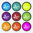scissors icon sign Nine multi colored round vector image vector image