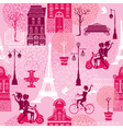 Seamless pattern with girls riding on scooter and vector image