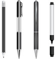 Set of black pens pencil and marker vector image vector image