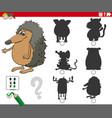 shadows task with cartoon animal characters vector image vector image