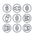 smart watch line icons in circles over white vector image vector image