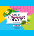 summer sale design with flower and exotic leaves vector image vector image