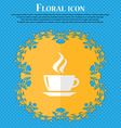 tea coffee Floral flat design on a blue abstract vector image
