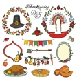 Thanksgiving dayDoodle setColorful collection vector image