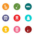 throw out trash icons set flat style vector image vector image
