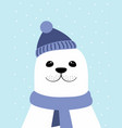 winter card with cute seal vector image