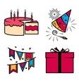 Birthday party celebration icons set vector image