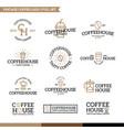 set of coffee and tea logo combination vector image