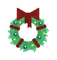 Flat Christmas wreath with balls and ribbon vector image