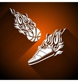 Basketball ball in flame sneakers icon color vector image vector image