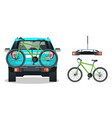 bikes loaded on the back of a suv back view flat vector image vector image
