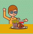 boy cartoon eating french fries chicken and soda vector image vector image
