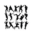 breakdance hip hop silhouettes vector image vector image