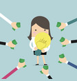 businessman hands pay money for buy idea vector image vector image