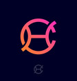 c h monogram as fragment chain link vector image vector image