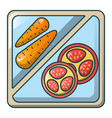 carrot on tray icon cartoon style vector image