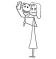 cartoon unhappy or sick woman taking selfie vector image