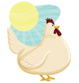 chicken with sunny sky background vector image