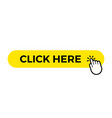click here web button template yellow bar vector image vector image