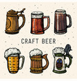 craft beer retro style beer mugs engraving hand vector image