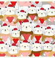 cute cat merry christmas seamless pattern vector image