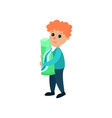cute little boy character holding giant toothpaste vector image vector image