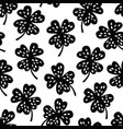 cute seamless black and white shamrock clover vector image