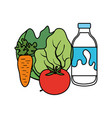 delicious milk bottle with vegetables vector image