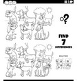 differences educational task with dogs coloring vector image vector image