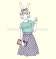 fashion animal cute hipster bunny girl character vector image vector image