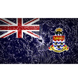 Flags Cayman Islands with broken glass texture vector image