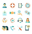 Flat Style Color Icons Of Customer Support vector image vector image