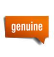 genuine orange 3d speech bubble vector image vector image