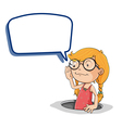 Girl holding speech bubble vector image vector image