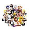 group people art faces crowd isolate on white vector image vector image