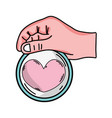 hand with heart emblem to love and romantic symbol vector image vector image