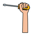 hand with screwdriver isolated icon vector image vector image