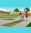 kids playing mini golf vector image