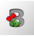 letter b with paper cut poppy flowers vector image vector image