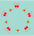 merry christmas candy cane stick with red bow vector image vector image