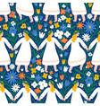 midsummer dancing girls in flower field seamless vector image