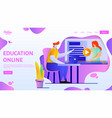 online education webpage template flat vector image vector image