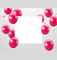 pink balloons confetti and ribbons celebration vector image vector image