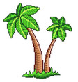 pixel two palm trees isolated vector image vector image