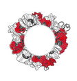 poppy frame card flower circle isolated vector image