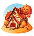 rustic stone house autumn landscape vector image