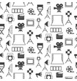 seamless pattern with black video production icons vector image vector image