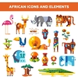 set flat design african icons and infographics vector image