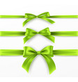 set green bow and ribbon on white background vector image